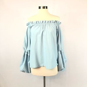 BooHoo Off Shoulder Bell Sleeve Blouse Size S